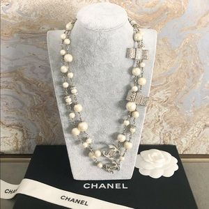 Chanel CC Crystal Bow Pearl Long Necklace